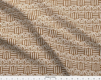 Tan Tribal Geometric Fabric - Fawohodie Means Free // Mudcloth By Monokeemono - African Mudcloth Cotton Fabric By The Yard With Spoonflower