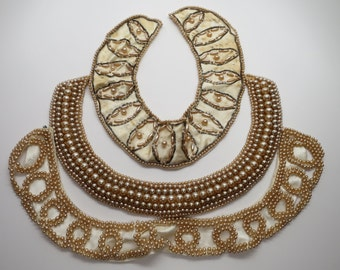 3 Vintage Imitation Pearl Collars / Necklaces for Dresses or Sweaters