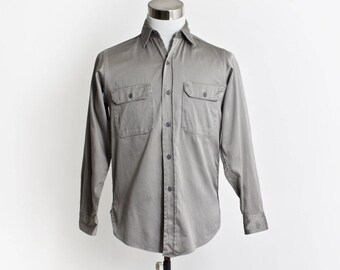 Vintage 60s Men's Shirt - BIG MAC Penney's Cotton Button Down Work Shirt 1960s - Medium M