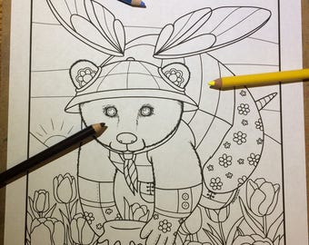 Animal Doodle Coloring Page for Adult Coloring Honey Bee Bear Fantasy illustration in Tangle style download