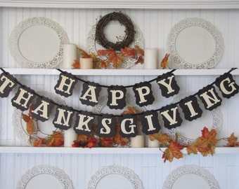 HAPPY THANKSGIVING Banner, Thanksgiving Sign, Give Thanks,  Fall Sign, Thanksgiving Decoration