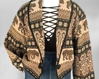 Vintage 90s Tribal Cotton Crop Jacket