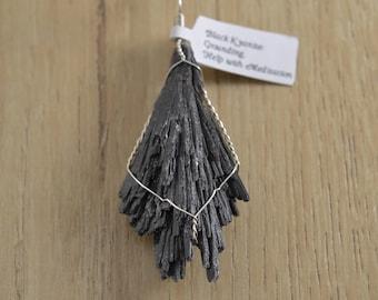 Black Kyanite Wire Wrapped Pendant