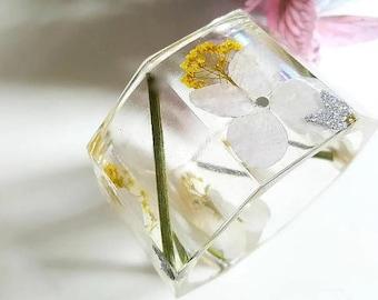 Resin Bangle - Resin Bracelet - Resin Jewelry - Statement Bangle - Bangle - Chunky Bangle - Faceted Bangle - Real Flower Bangle