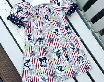 SALE! Alice in Wonderland dress red white and navy blue cotton fabric short sleeves age 12 months 2 years 3 years 4 years 5 years 6 years