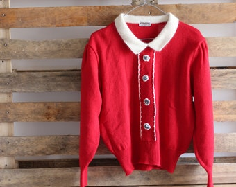 Red sweater with pearl detail