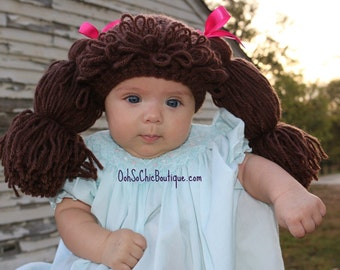 Cabbage Patch Kids Hat, Cabbage Patch Kids Wig, Costumes for Kids, Halloween Costume, Dress Up Hats For Kids, Baby Wigs,