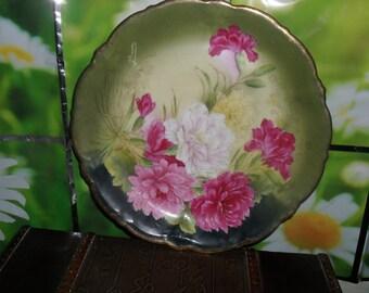 Vintage  Porcelain - Bavaria Plate - Wild Roses Pattern - Artist Signed