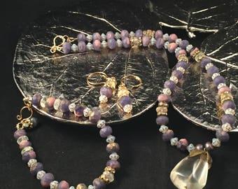 Lemon quartz jewelry set, hand beaded jewelry set, aquamarine jewelry set, purple jewelry set, valentines gift, anniversary gift, wife gift