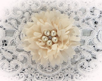 Reneabouquets Flower -So Shabby Ivory Chiffon Large Flower,  Pearl And Rhinestone Fabric Flowers