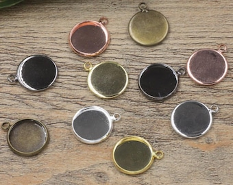 Bulk 50 pcs pendants settings bezel blanks Brass base
