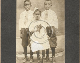 Antique Black Americana Identified Siblings Cabinet Photo