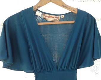 Forrest Green 1970s Dress * Vintage size 9 * Young Edwardian by Arpeja * Maxi Dress / Long length * Flowing Flutter Short Sleeves