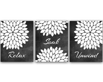 Bathroom Wall Art, Relax Soak Unwind, Instant Download Bath Art, Printable Modern Bathroom Art,  Black and White Bathroom Decor - BATH12