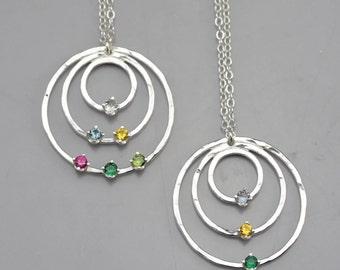 Grandmother's Birthstone Necklace - Custom Made Three Circle Birthstone Pendant - Birthstone Jewelry - Custom Mother's Jewelry