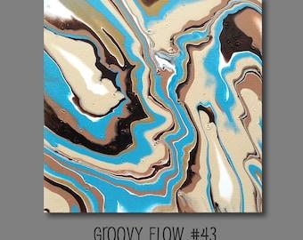 Groovy flux acrylique abstrait peinture #43 prêt à accrocher 12 x 12