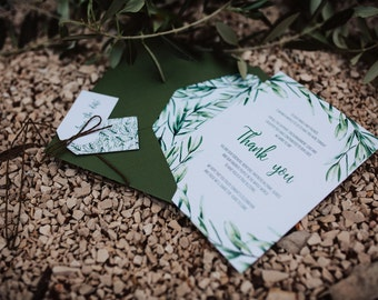 Olive Green Thank You Card | Rustic