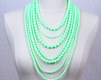 Neon Green Layered Beaded Necklace Multi Strand Statement Necklace Seven Layered Beads Long Necklace Seven Strand Beads Necklace