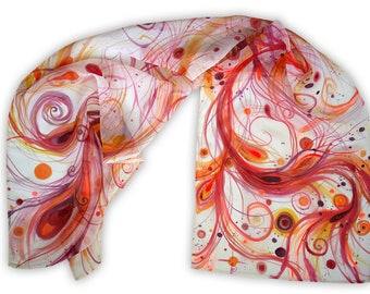 Art scarf with fire feathers, hand-painted, one of a kind, excellent easter gift for Her, fantasy theme, red shades, glitters, unique gift