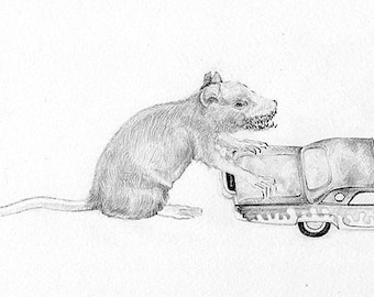 A Rat and a Car, Black and White Print by Nicole Margaretten