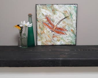 Dragonfly Wall Art, Original palette knife Dragonfly Painting Modern Art 12x12 Acrylic Painting Canvas Art wall decor damselflies