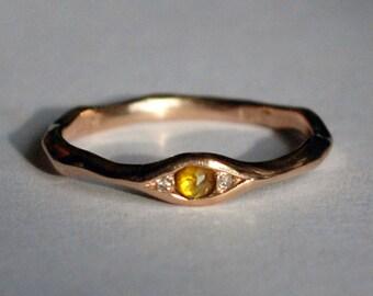 18k Brown Gold, Yellow Rose Cut Diamond & White Diamond Eye Ring