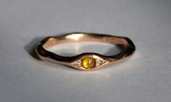 18k Brown Gold, Yellow Rose Cut Diamond & White Diamond Eye Ring