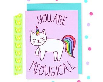 Cat Mother's Day Card, Cat Grad Card, Cat Unicorn Card, Meowgical, Rainbow Cat, Bestie, Classroom, Friendship Bday, Best Friend, Cute Gift