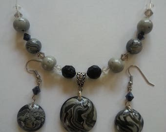 Black Marbled Polymer Clay Jewelry