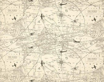 Map fabric etsy ships same day map fabric premier prints air traffic felix vintage airplane plane map gumiabroncs Choice Image