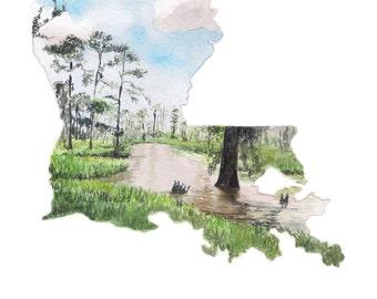 Louisiana State Art Print - Unique Map Art - Gift for Traveler - Wanderlust Print - Louisiana Wall Art - Louisiana Watercolor Landscape