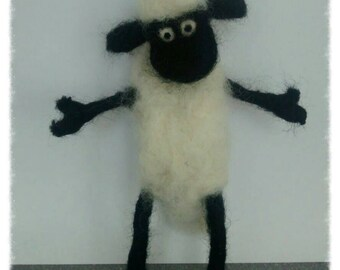 Shaun the sheep needle felted miniature sculpt TV and film character great quirky eco birthday farmer present gift idea rear car mirror