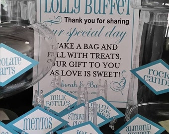 Lolly Buffet sign and individual lolly tags