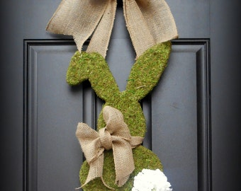 Easter Wreath.  Spring Wreath.  Bunny Wreath. Moss Covered Bunny with Geranium Cotton Tail and Burlap Bowtie.  A French Country Easter.