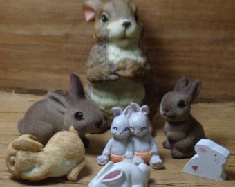 Collection of 7 Rabbit Figurines, Kitsch Cute Bunny Rabbits Statue, Miniature and large Rabbits, Gift For Bunny Lover, Rabbit Home Decor