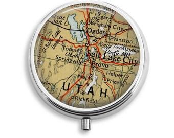 Pill Case Utah Pill Box Case, Trinket Box, Vitamin Holder, Medicine Box, Mint Tin, Salt Lake City Gifts For Her, Cute Pill Box, Stash Box