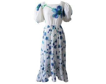 Vintage Balenciaga Blue and White Pansy Floral Day Dress 1980s