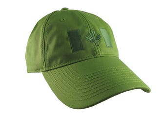 Canadian Flag Green Embroidery Design on a Moss Green Adjustable Unstructured Baseball Cap Dad Hat for a Tone on Tone Fashion Look