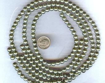 6mm Elegant Autumn Green Glass Pearls 25 pcs