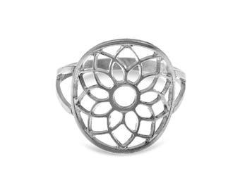 Mandala Ring, Mandala Jewelry, Spiritual Ring, Meditation Jewelry, Yoga Ring, Sterling Silver Ring, Bohemian Ring, Silver Ring For Women