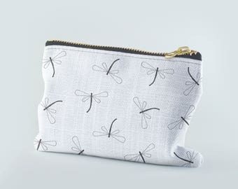 Dragonfly Coin Pouch, Black and White Coin Pouch, Change Purse, Small Zipper Pouch, Coin Purse, Zippered Coin Purse, Money Purse, Coin Bag