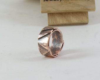 Mens copper ring  Oxidized Mens Rings Personalized jewelry hammered band Unisex ring Unique ring  Copper jewelry  Men organic