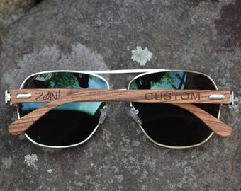 Personalized Aviator Sunglasses. Wood Sunglasses. Mens Sunglasses. Womens Sunglasses. Groomsman Gift