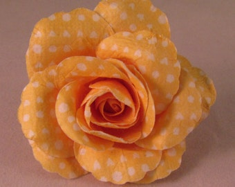 Large Rose Lapel Pin - Yellow & White Polka Dot - Men's Accessories- Everyday/Weddings/Proms