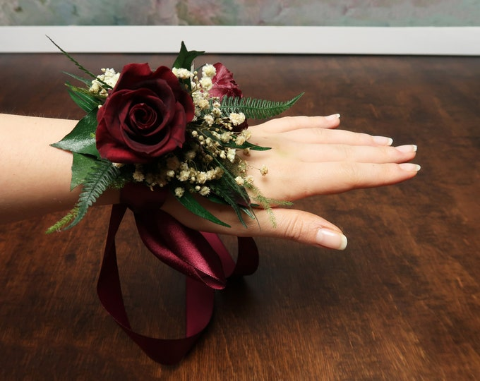 Burgundy roses wrist corsage