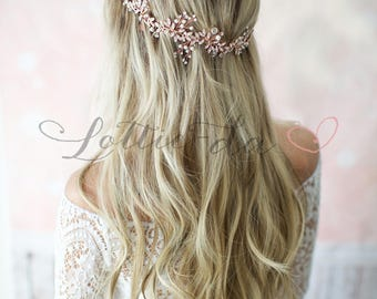 Rose Gold Crystal Hair Vine, Boho Leaf Bridal Hair Vine, Wedding Pearl Hair Vine, Boho Wedding Headpiece - 'LYRA'