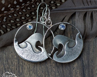 Sterling silver Hoop Bohemian earrings with Textured waves and Moonstone - Tidal Moon -