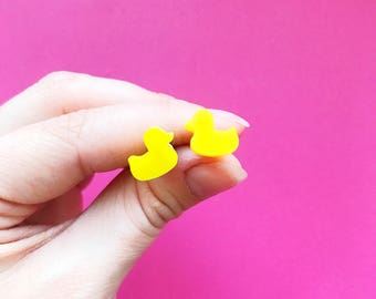 Rubber Duck Earrings | Yellow Jewellery | Bright Colourful Earrings | Quirky Nickel Free Studs For Sensitive Skin