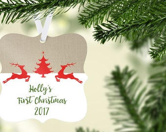 Burlap First Christmas Ornament, Baby's First Christmas, Personalized Christmas Ornament