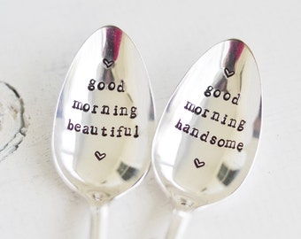 Couples Spoons - Set of 2 Hand Stamped Spoons - Good Morning Handsome - Good Morning Beautiful - Vintage Silverpate Spoon - Wedding Spoons